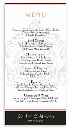 145 Wedding Menu Cards - Shield Horses Chocolate by WeddingPaperMasters.com. $105.85. Now you can have it all! We have created, at incredible prices & outstanding quality, more than 300 gorgeous collections consisting of over 6000 beautiful pieces that are perfectly coordinated together to capture your vision without compromise. No more mixing and matching or having to compromise your look. We can provide you with one piece or an entire collection in a one stop ...