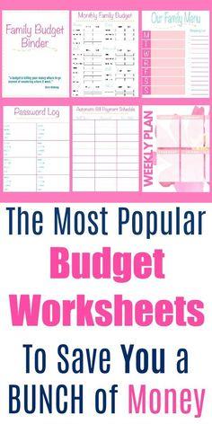 Budgeting Worksheets, Budgeting Finances, Budgeting Tips, Free Worksheets, Printable Worksheets, Monthly Expenses, Free Printables, Budgeting Process, Monthly Planner
