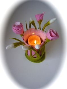 Candle HolderFlowerVaseFelted Spring. by FilzArts on Etsy