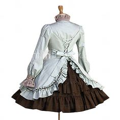 Long Sleeve Knee-length Pure Color Cotton Classic Lolita Dress