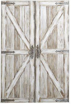 Rustic Barn Doors Art - Antique White