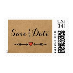 Pink Sweethearts & Arrows Rustic Save the Date Postage