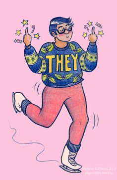 """Sam Orchard was tweeting tonight about family holiday celebration survival strategies for trans/gq people, and brought up ugly Christmas pronoun sweaters. I desperately want an ugly Christmas """"they"""" sweater now, so I HAD TO DRAW THIS Can we make this a thing, internet? Design-your-own hideous holiday pronoun sweater?"""