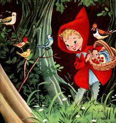 Vintage print Little Red RIDING HOOD nursery decor girl