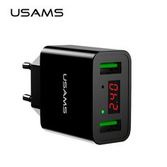 nice USAMS LED Display Dual USB Phone Charger EU/US Plug The Max 2.2A Smart Fast Charging Mobile Wall Charger for iPhone iPad Samsung