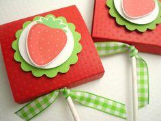 Strawberry topped lollipop favors - SimpleTastes.etsy.com