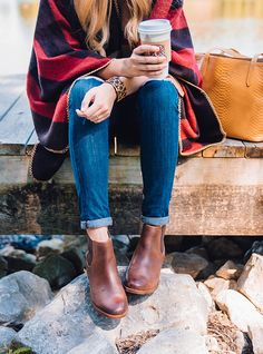 brown leather flat booties / fall outfit ideas / red plaid poncho