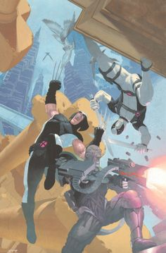 Uncanny X-Force #7 Painted Cover - Deadpool, Deathlok, & Wolverine Action - 2011 Signed art by Esad Ribic