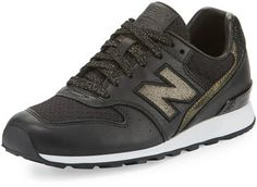 New Balance Embossed Leather Sneaker, Black/Gold