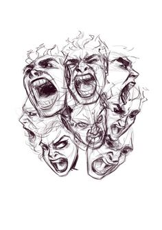 How to draw Screaming Faces – A Tutorial! Creepy Sketches, Creepy Drawings, Dark Art Drawings, Pencil Art Drawings, Art Drawings Sketches, Cool Drawings, Abstract Drawings, Screaming Drawing, Gcse Art Sketchbook