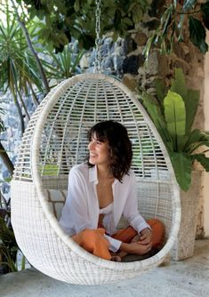 On sale. Shop Pod Hanging Chair with Cushion. Hang out and hide out on the patio in this breezy, handwoven seat. Faux wicker pod suspends a cozy, sheltering perch that stands up to the elements.