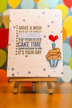 """maikreations: """"Make a wish"""" using """"Texture - Birthday"""" from Kaiserkraft and the cupcake from the set """"CL382"""" from Hero Arts."""