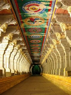 Ramnathswamy Temple - India. The Corridor of a Thousand Pillars, the longest in any Hindu temple.