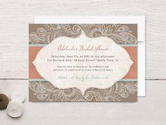 Bridal Shower Invitations, Rustic Swirl