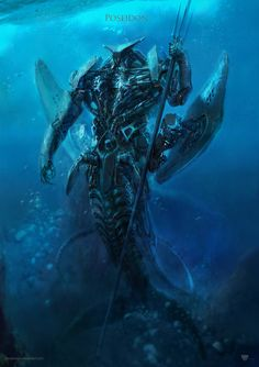Part three of the Greek myth charas gone mech. Poseidon - non-humanoid parts are inspired by hammer head shark and stingray. - the crease in the chest leads to a turbine located in the lower stomac...