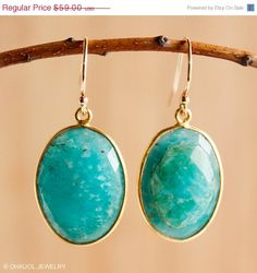 SALE Russian Blue Amazonite Gemstone Earrings - 14KT Gold Fill - Turquoise Blue
