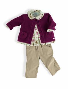 Conjunto 3 peças menina Camisa tricoline estampada e cardigan tricot groselha com calça de veludo
