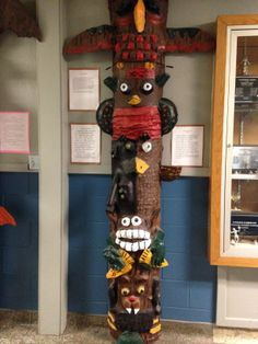 8 ft totems created out of 4ft round concrete forms.  Students created their own images and then wrote legends about them.