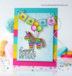 Fun with the new release from Pretty Pink Posh! Awesome stamps and dies to make your own birthday cards. I love the new set called Pinata Party! It's a fiesta for you! Handcrafted with stamps, dies, and markers. Pinata Party, Pretty Pink Posh, Little Critter, Handmade Birthday Cards, Card Tags, Kids Cards, Homemade Cards, Card Making, Paper Crafts