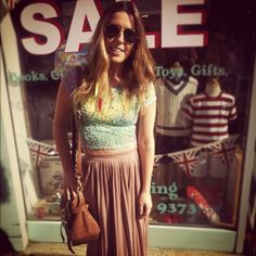 Multi-coloured crop top and maxi  http://blinkandyoullmiss.com/