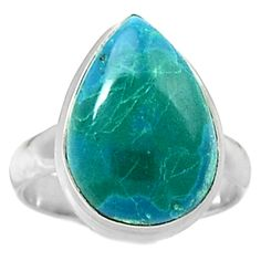 Chrysocolla - Peru 925 Sterling Silver Ring Jewelry s.8.5 CCPR75
