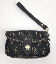 Dooney and Bourke wristlet purse black leather trim logo fabric #DooneyBourke #Wristlet