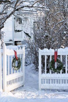wreathes with red satin ribbon.  (via Pin by Farmhouse Touches on Farmhouse Living: Christmas   Pinterest)