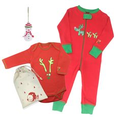 3-Piece Holiday Reindeer & Ornament Gift Set. Our quirky 3-Piece Reindeer and Ornament Gift Set makes the perfect Holiday pressie for your baby. A great way to celebrate baby's first festive season it includes our all-Organic Cotton Reindeer Footie and Reindeer Onesie and a sweet little hand-knit snowman ornament that can double as a toy for baby. Plus it gives to another baby in need - what could be better?