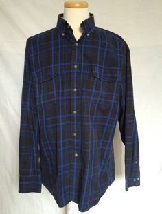 Wrangler George Strait Shirt XL Plaids & Checks Black Blue Long Sleeves Mens #Wrangler #ButtonDown