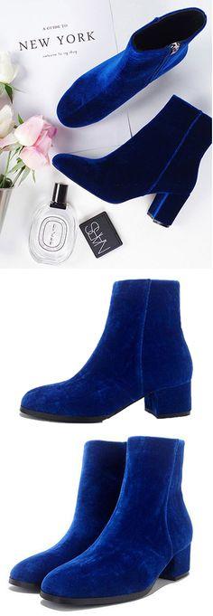 Footwear Velvet Boots---$43.99 Blue Velvet Zip Side Heeled Ankle Boots from Stayingsummer!