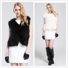 2014 Short Design Female Fox Fur Vest Luxury Real Fox Fur Vest Fashion White/Black Fur Vest Fur Coats Autunm/Winter 2014 New $522.00