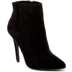 Charles By Charles David Peggy Suede Bootie ($70) ❤ liked on Polyvore featuring shoes, boots, ankle booties, ankle boots, black suede, black ankle boots, black bootie, short black boots and suede ankle booties