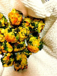 Broccoli and Cauliflower Cheesy Bites - So good! Like spinach balls. Even though they're veggies, I just want to pop 'em in my mouth one after the other.
