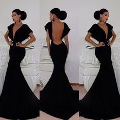 Vintage V Neck Cap Short Sleeves Backless Black Mermaid Floor Length Dress