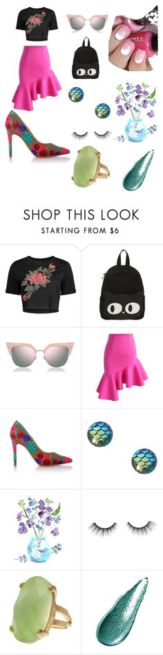 """""""check out my flower shirt"""" by cecjones ❤ liked on Polyvore featuring Fendi, Chicwish, Vivienne Westwood, tarte, Rivka Friedman and Giorgio Armani"""