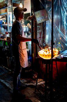 Bangkok night food market in Chinatown, Thailand Night Food, Bangkok, Thailand