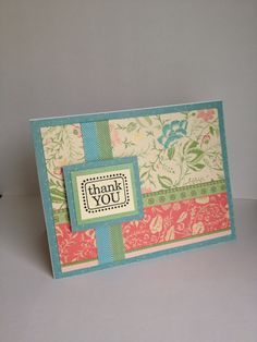 Thank you card made with DCWV Garden Party Matstack.