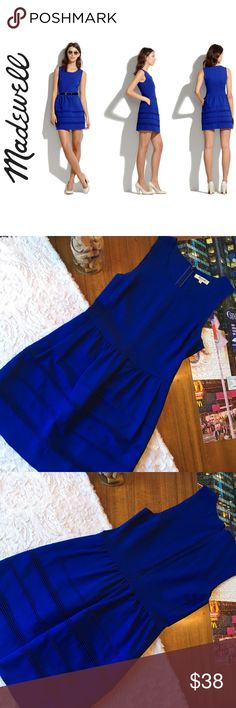 """MADEWELL • Silhouette Dress Madewell Silhouette Dress in Blue • Size S • Hidden Pockets • Zippered Back w/Clasp • Structure Bottom • RARE (No longer sold in stores) • Fitted at Waist • Full Skirt • Falls 35"""" From Shoulder • Rayon/Nylon/ Spandex • Machine Washable • """"Polished Style"""" • """"Effortlessly Cool"""" • """"Slightly Unfinished Seams"""" • Madewell Dresses"""