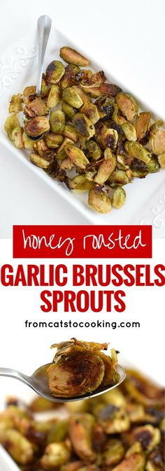 Made with honey, garlic and balsamic vinegar, these oven-roasted Brussels sprouts are a perfect side dish for dinner any night of the week. They're also gluten free, paleo and vegetarian.