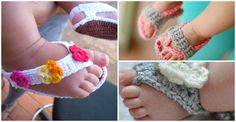 I saw some really cute baby sandals on Pinterest and wondered how to make them. After some researching, I have some free crochet baby sandal and barefoot p