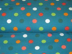 Jersey with colourfull Dots on petrol de Retro-Stoff-Cafe por DaWanda.com