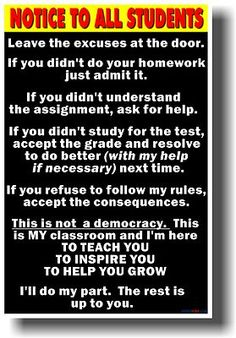 Notice to Students Big Text New School Classroom Student Motivational Poster | eBay... LOVE