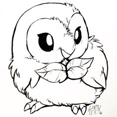 Rowlet pokemon doodles from lintufriikki