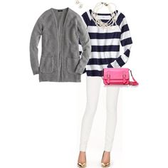 """Grey, navy stripes & pink OOTD"" by maomi on Polyvore"