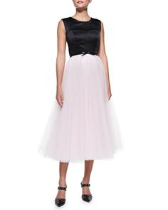 Sleeveless Bustier Cocktail Dress W/ Tulle Skirt by Milly at Neiman Marcus.
