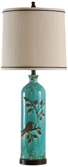 Adele Ceramic Foliage And Bird Turquoise Table Lamp - like the bird design.  Could it be done with a resist?