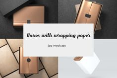 This exclusive freebie is a set of cardboard Gift Boxes Mockups JPG files with white and gold wrapping paper and sticker. All mockup images come in high