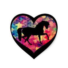 Love for Horses Heart Sticker