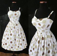 Flirty 1950's Cotton Polka Dot Sun Dress w/ Shelf by wearitagain