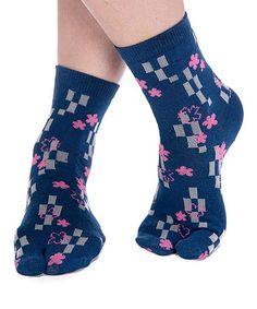 Loving this Blue & Pink Flowers V-Toe Tabi Socks on #zulily! #zulilyfinds